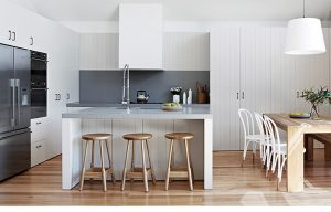 a classic kitchen in white, with timber flooring, modern, interior, design,